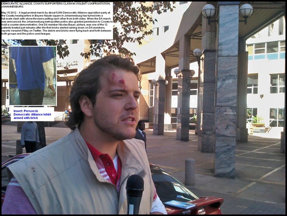 Democratic Alliance march May 15 2012 Cosatu house. Nicholaus Bauer injured by brick. PIC BY PHILIP DE WET