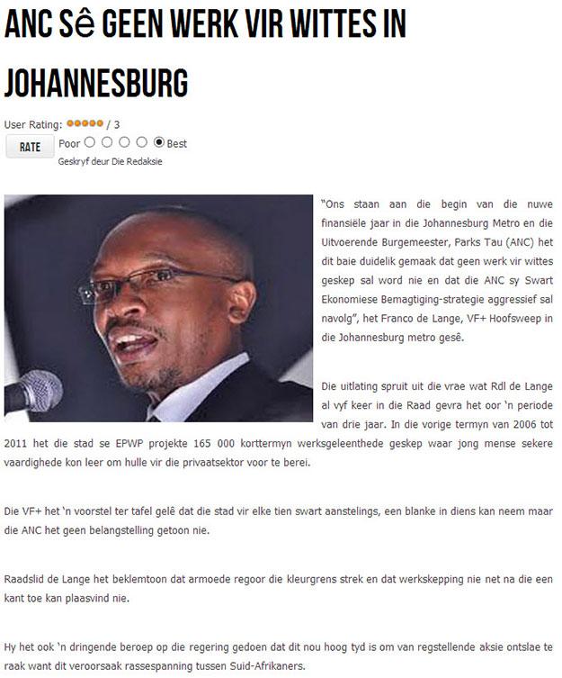 Geen werk vir Blankes in Johannesburg - ANC